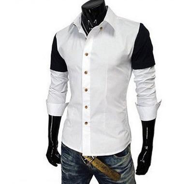 男外翻領襯衫休閒襯衫 拼接修身長袖襯衣超實惠休閒商務 穿的襯衫男生衣著免燙襯衫