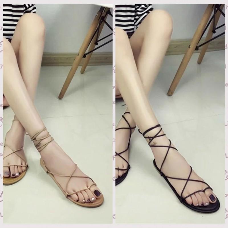 高CP 值 夾趾鞋平底鞋交叉綁帶平跟羅馬涼鞋女大小碼涼鞋沙灘鞋