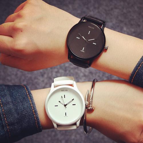 W022 韓國原宿風 潮流素面大錶盤休閒簡約男錶對錶女錶學生文青手錶皮帶手表