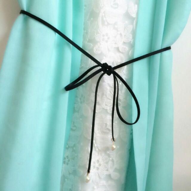 氣質黑蝴蝶結 珍珠皮繩腰鍊腰帶腰繩簡約風