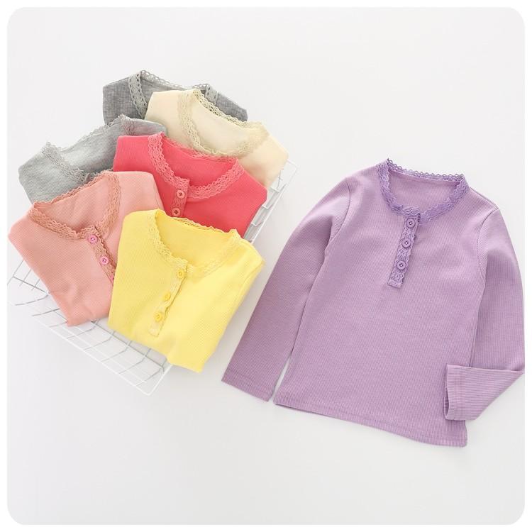 新品特惠2016  女童女寶寶蕾絲邊素色打底衫長袖t 恤 加
