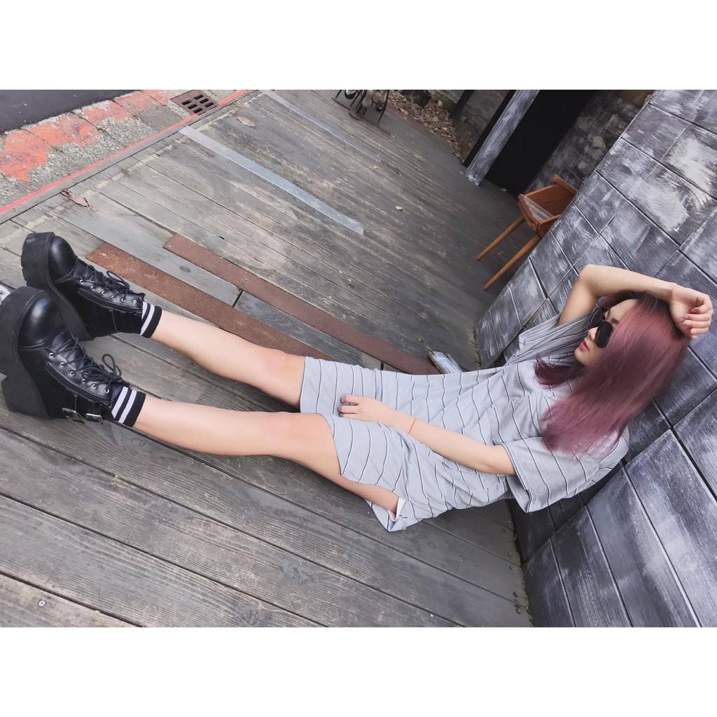 正韓春夏條紋口袋寬鬆長版T 恤休閒顯瘦修身簡約圓弧下擺短袖百搭 簡單 款i2606