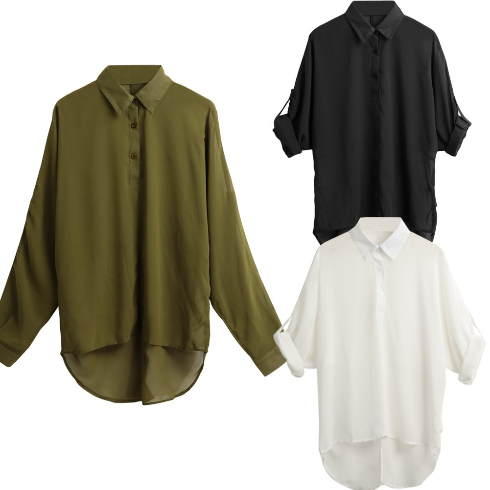 女士優雅長袖不對稱休閒寬鬆雪紡襯衫