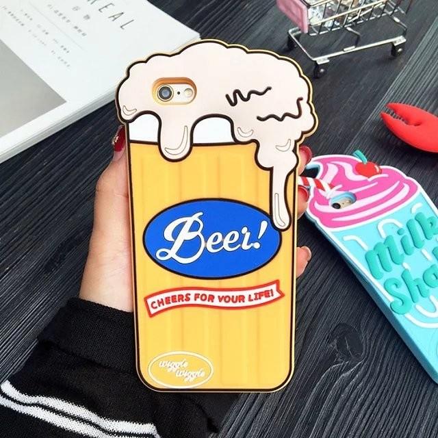 韓國 立體殼可愛啤酒龍蝦櫻桃雪糕手機殼蘋果iphone6 6s 軟殼6s plus 牛奶冰