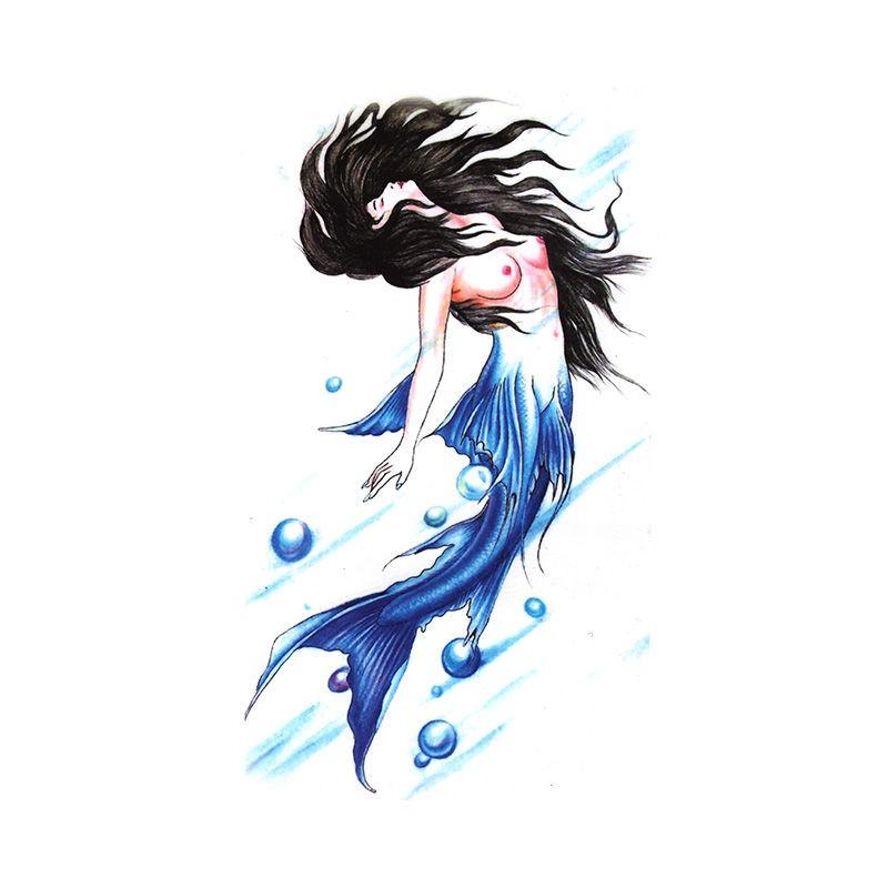 【買一送一】紋身貼美人魚仿真藍色美人魚女款花臂魚尾胸部貼紙 紋身貼紙 刺青貼紙 防水紋身貼 卡通紋身貼