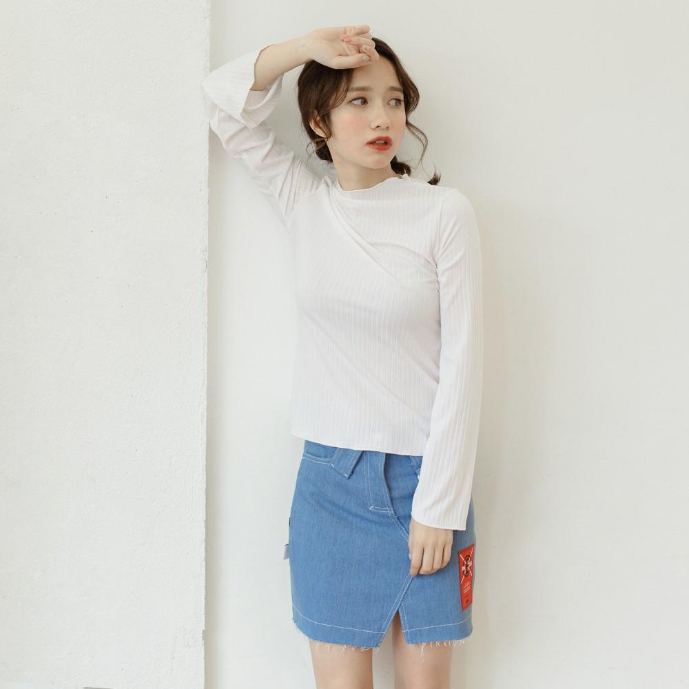 2017 韓國女裝春款寬鬆純色圓領打底上衣A008