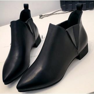 切爾西尖頭短靴女及裸靴粗跟春 單靴馬丁靴女英倫風中跟
