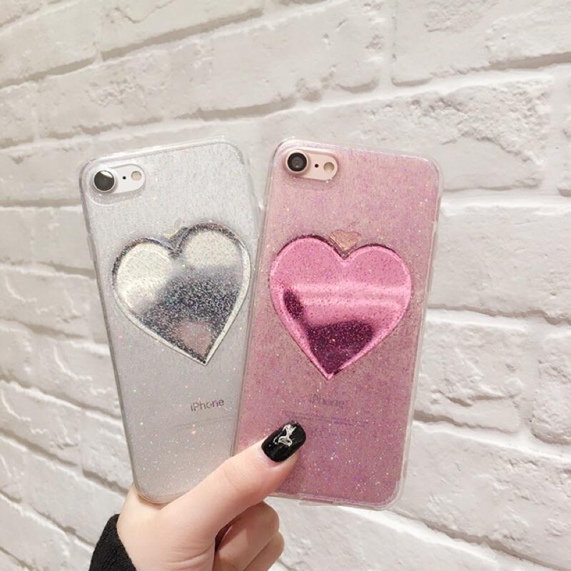 鏡面閃粉愛心手機殼iPhone6 手機殼iPhone7 7Plus 保護殼 硅胶日韓全包邊