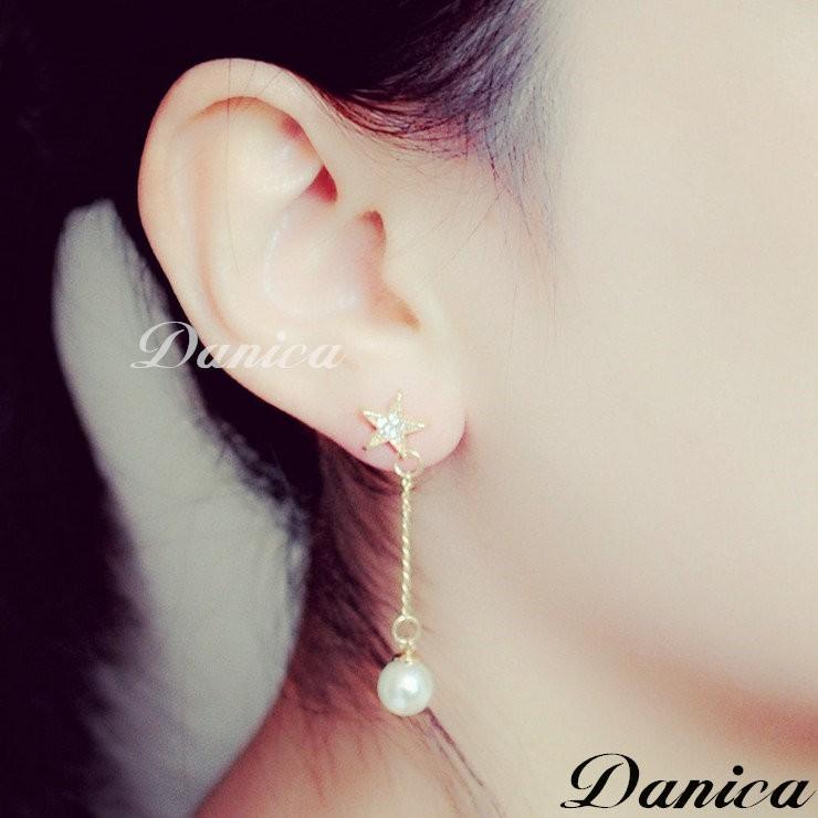 ❤耳環❤韓國氣質甜美五角星星流線珍珠水鑽長耳環K6740  價Danica 韓系飾品韓國連