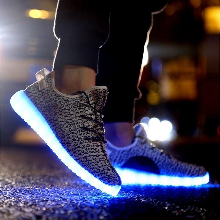 ~小人國衣鋪~ 發光鞋USB 充電七彩閃光鞋透氣熒光鞋夜光LED 燈光鞋潮流學生鞋