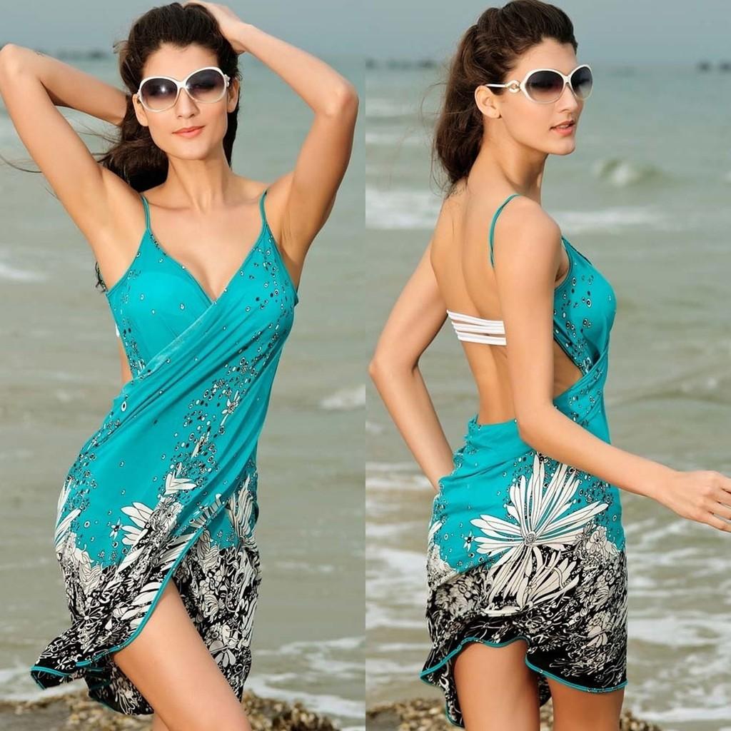 性感的露背裹裙波西米亞封面女防曬脖花朵印花沙灘泳裝夏裝沙灘巾