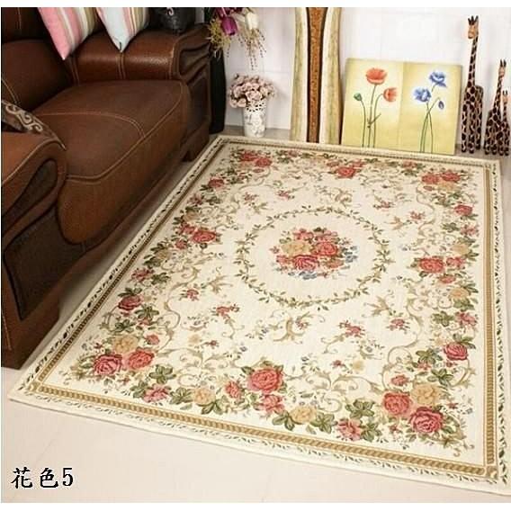 清爽歐洲宮廷貴族風玫瑰庭園風格 尊貴氣派客廳地毯