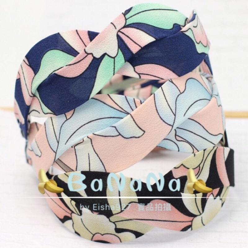BaNaNa 韓國髮飾春夏 格子交叉髮箍條紋印花 氣質辮子頭箍