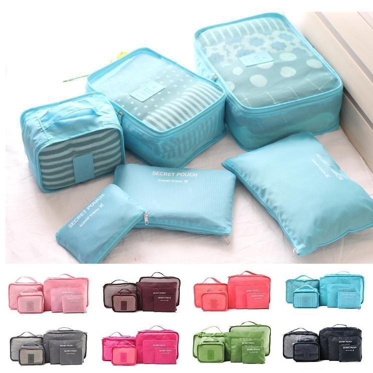 韓國旅遊旅行出國收納袋行李箱壓縮袋旅行箱包中包收納包化妝包內衣鞋護照行李箱用六件組~RB3