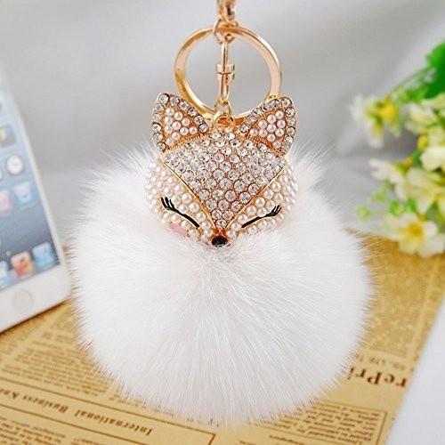 真正的狐狸毛球與人造狐狸頭鑲嵌珍珠水鑽鑰匙鏈女式包