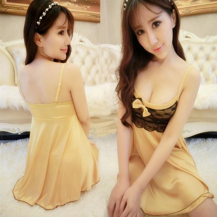 金色浪漫性感睡衣蕾絲綢緞拼接布料彈性寬鬆大碼舒適睡衣連身衣家居服