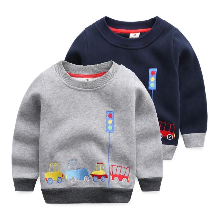 男童套頭衛衣加絨 2016 寶寶小汽車上衣兒童圓領外套