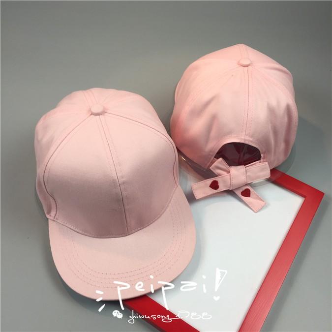 簡約白色休閒百搭 風刺繡心形愛心繫帶棒球帽