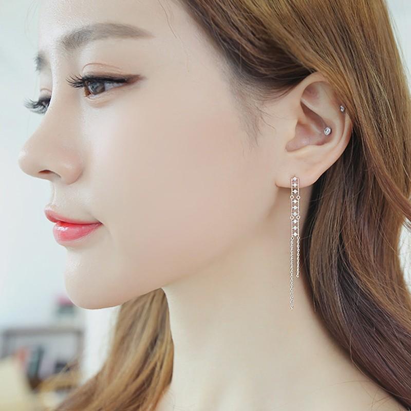韓國s925 純銀防過敏鑲鑽長款流蘇耳釘甜美 淑女耳環飾品
