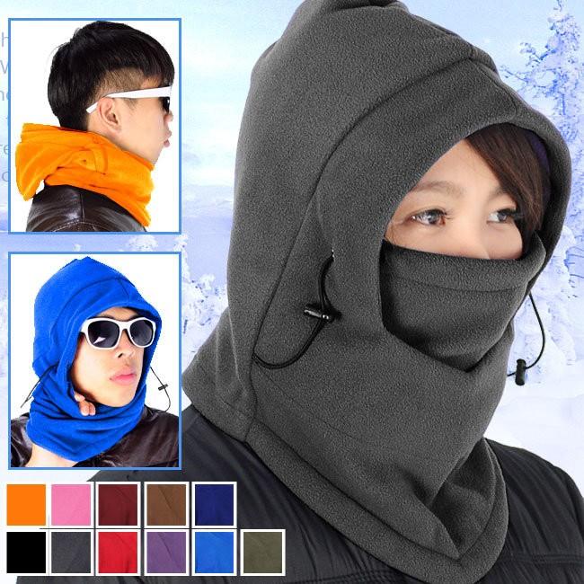 黑灰色加厚抓絨帽保暖頭套帽子頸套防寒自行車保暖面罩機車口罩防風圍脖圍保暖圍巾魔術頭巾全罩式