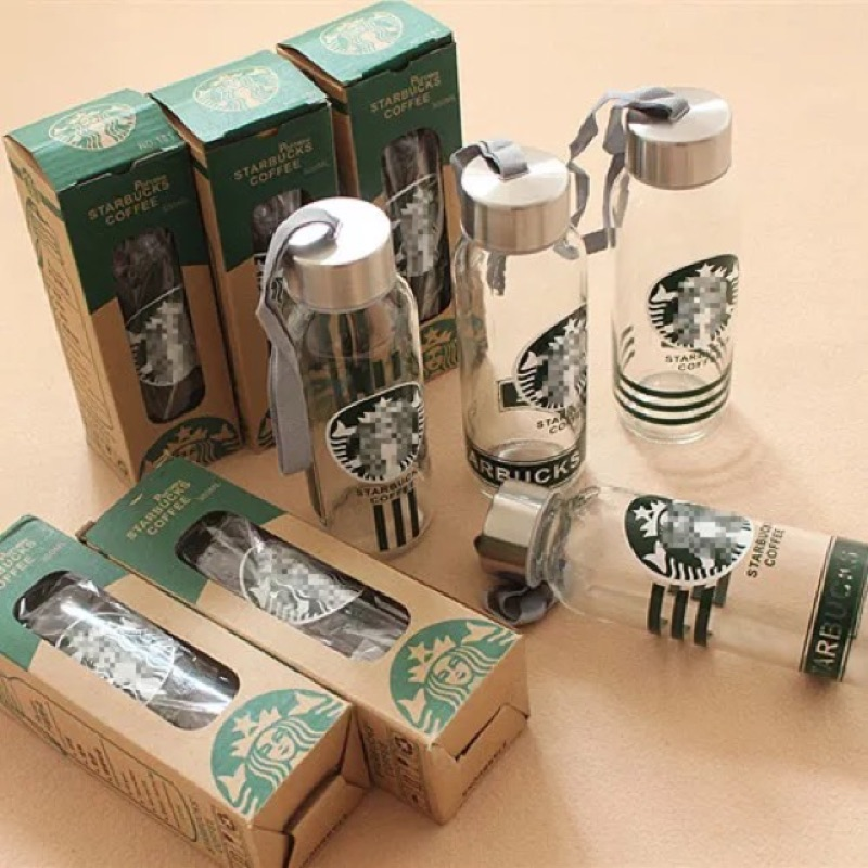 starbucks 瑕疵星巴克水壺水瓶水杯咖啡杯保溫瓶透明玻璃杯帶蓋帶提繩便攜防漏水杯 杯