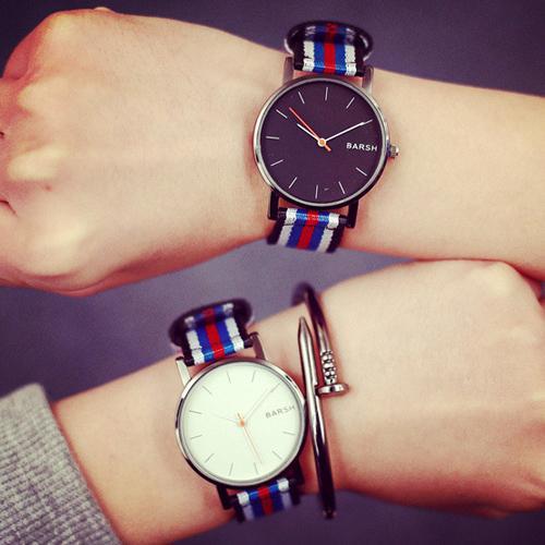 W015 韓國 潮流休閒簡約 英倫尼龍帆布彩色男錶對錶女錶學生手錶皮帶手表