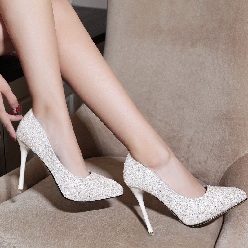 NEW 部份 貨到 超高跟鞋細跟尖頭單鞋性感公主防水臺銀色女鞋27779 001 A18