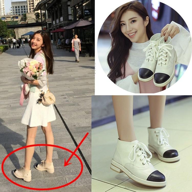 真皮馬丁靴女靴子短靴系帶圓頭拼色中跟短筒靴裸靴百搭日系靴