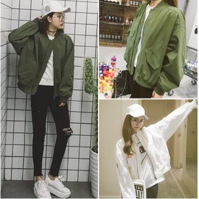 Ying Fashion ☘ 純色學院風棒球外套百搭寬鬆休閒短外套☘