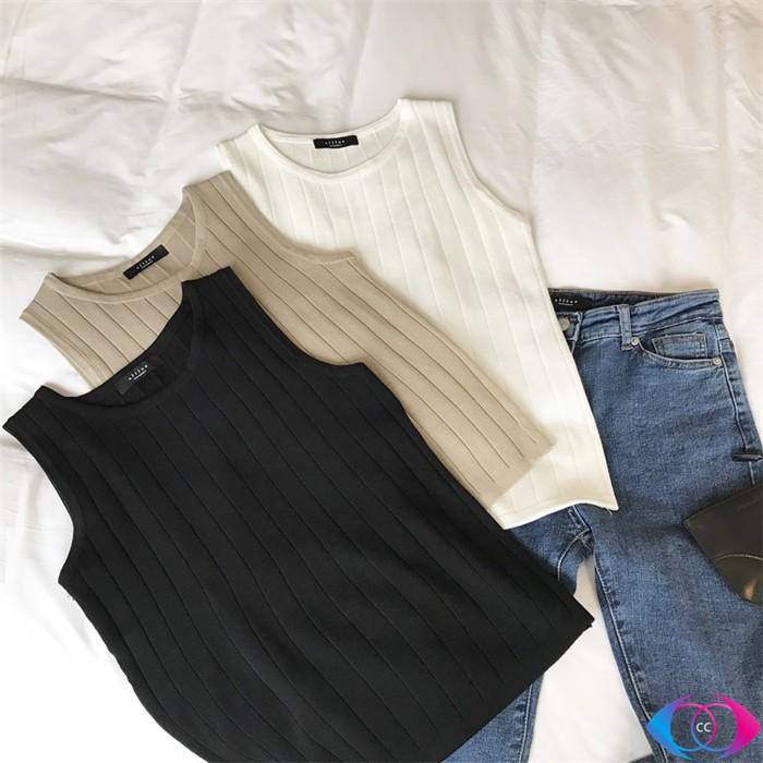 ~ ~▲背心▲ 純色紋路無袖針織背心女短款外穿修身顯瘦性感打底衫女生衣著 休閒百搭潮流打底