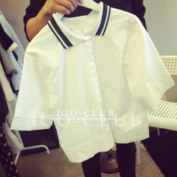 EASON SHOP GU2259 POLO 領五分袖襯衫女上衣白色條紋領短袖短版韓寬鬆顯
