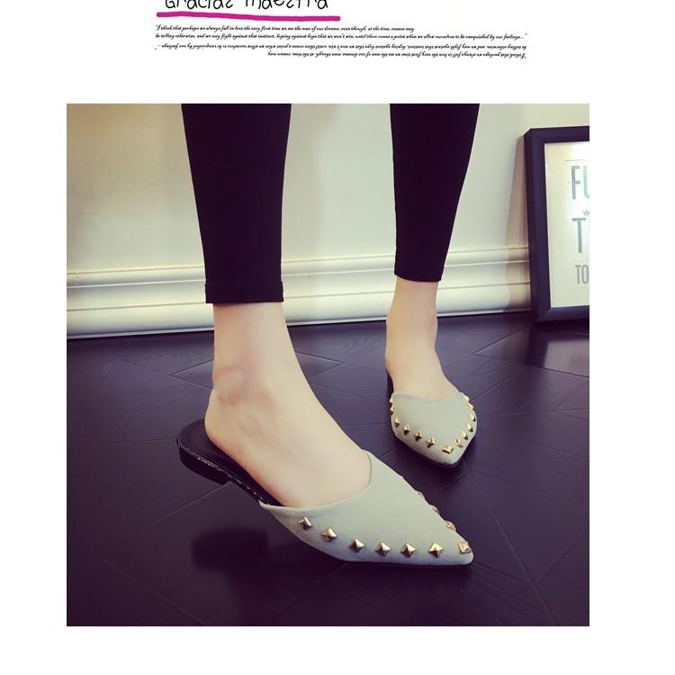 2016  鉚釘尖頭包頭平底女拖鞋舒適平跟半拖女式涼拖女鞋子