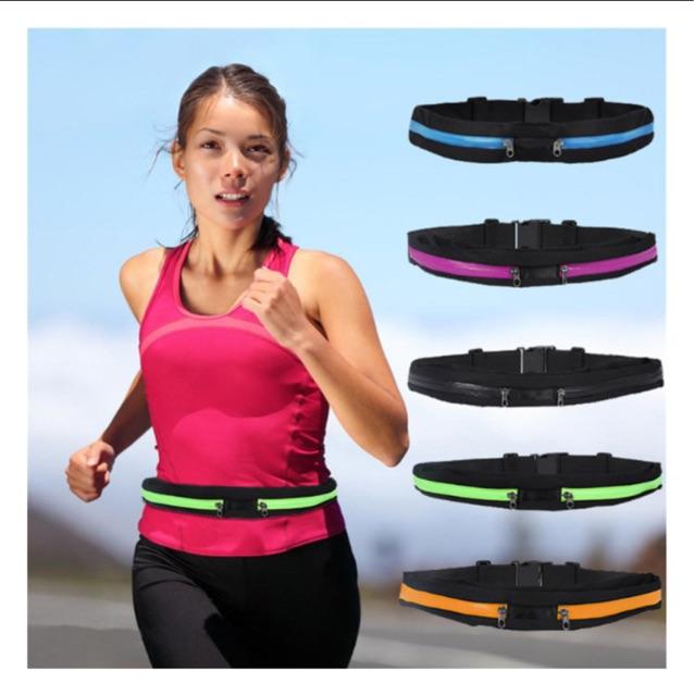 跑步腰包多 防盗防潑水高彈力男女跑步騎行健身 手機霹靂腰包休閒包雙拉鍊戶外 背包臂包彈性黑