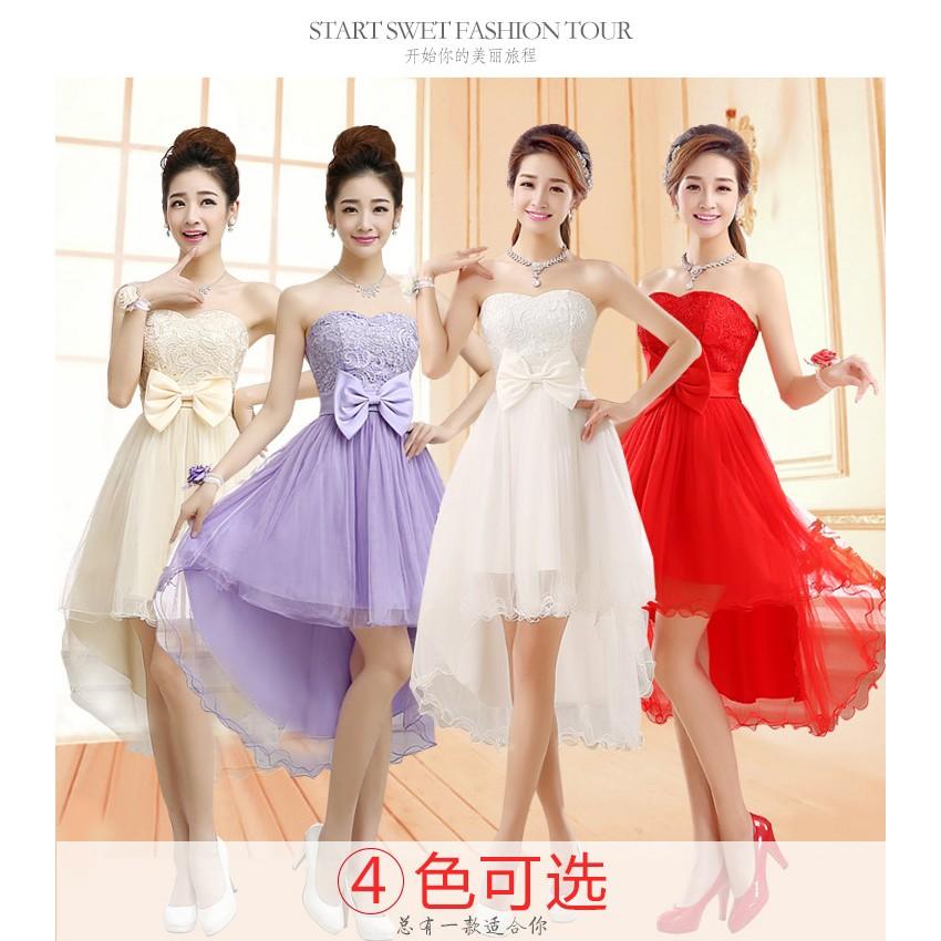 新娘禮服伴娘紅色敬酒服旗袍前短後長短款晚主持禮服