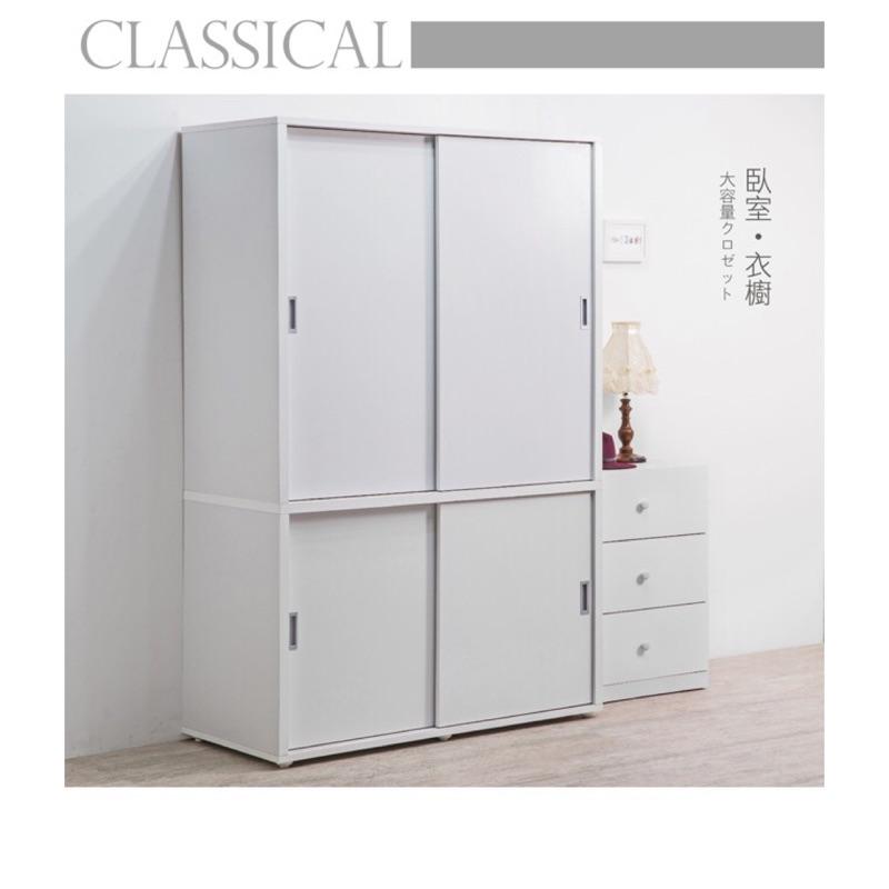 赫斯提亞 推門衣櫥•推門大空間 •內附80 公分高穿衣鏡•MIT  •腳座可調整高低