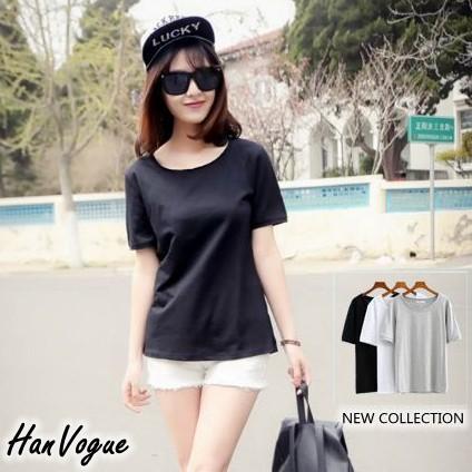 不修邊素面圓領短袖T 恤不修邊簡單俐落圓領素T 韓衣風格HV260102