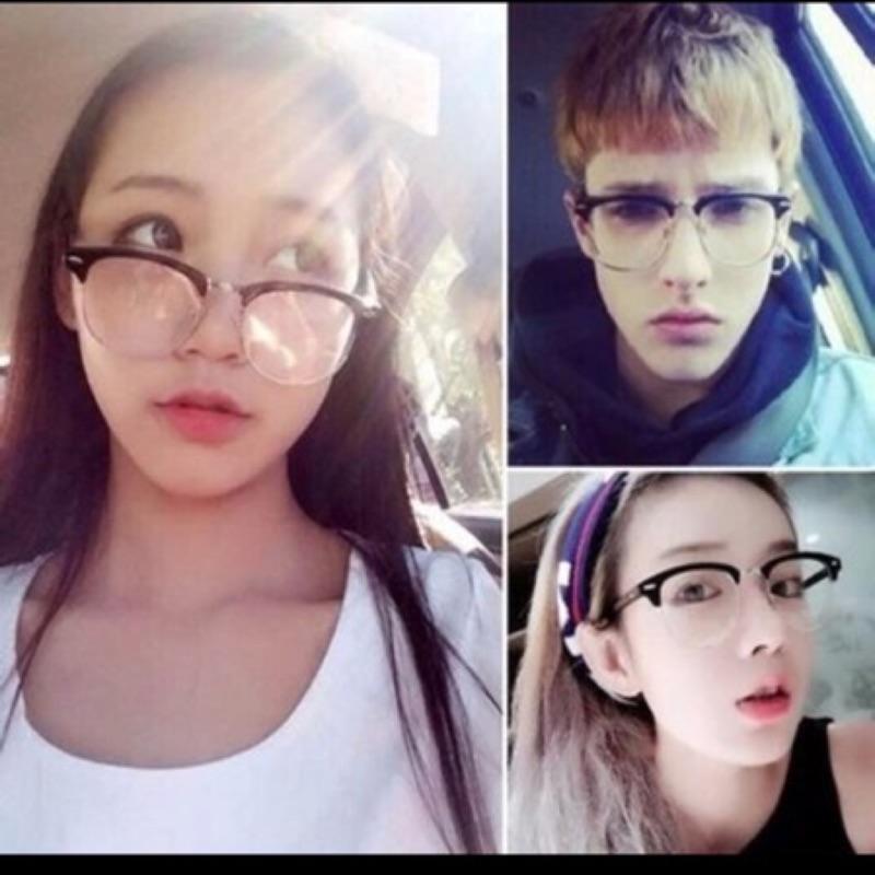 附鏡袋擦拭布金秀賢都敏俊同款男女鉚釘半框雷朋款鉚釘半框眼鏡金屬半框平光眼鏡架