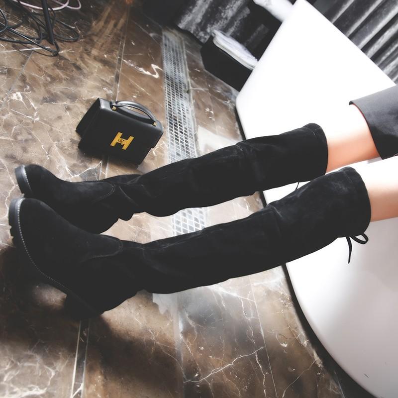 ~靚伊軒~℡2016  過膝長靴女彈力靴長筒女靴平底瘦腿高筒靴子粗跟皮靴