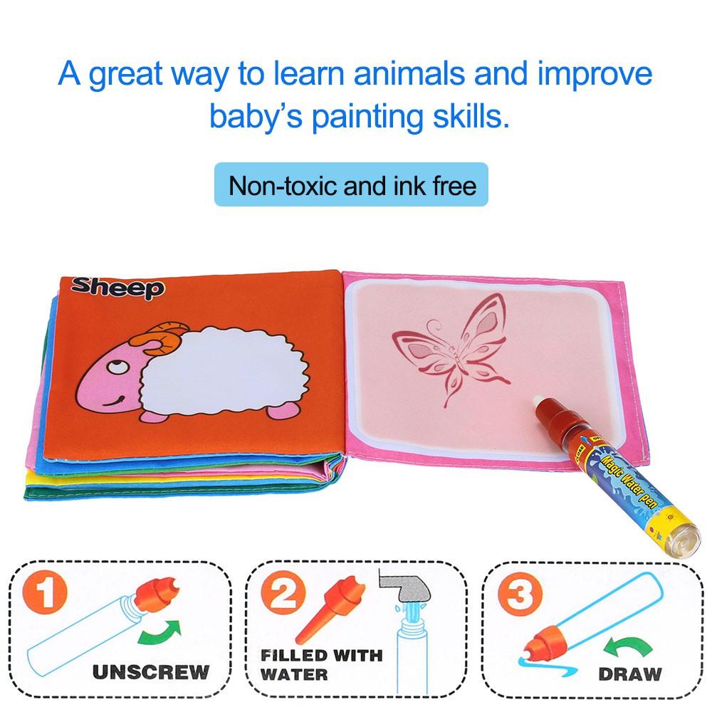 魔術畫筆繪畫頁面幼兒布製纖維插圖英文單詞識記互動童書低齡教育環保無毒可手洗不褪色兒童嬰兒寶