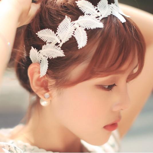 超美小清新森林系鄉村風葉子髮帶蕾絲髮帶日系少女