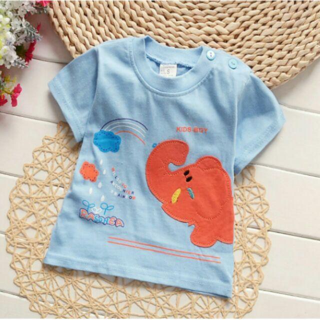 嗨寶貝 日系男女寶寶噴水貼布繡小象純棉短袖T 恤白藍