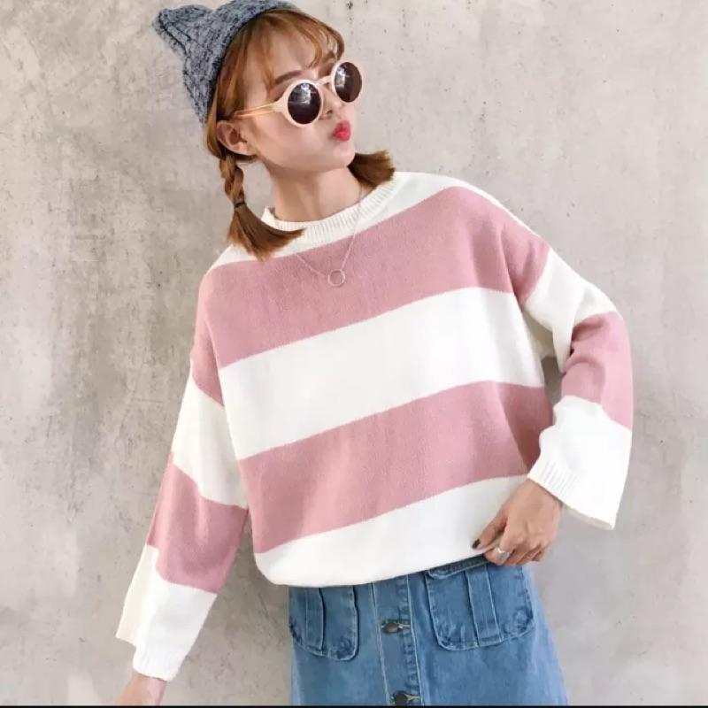 秋裝韓國學院風百搭條紋撞色寬鬆顯瘦長袖毛衣女學生針織衫外套