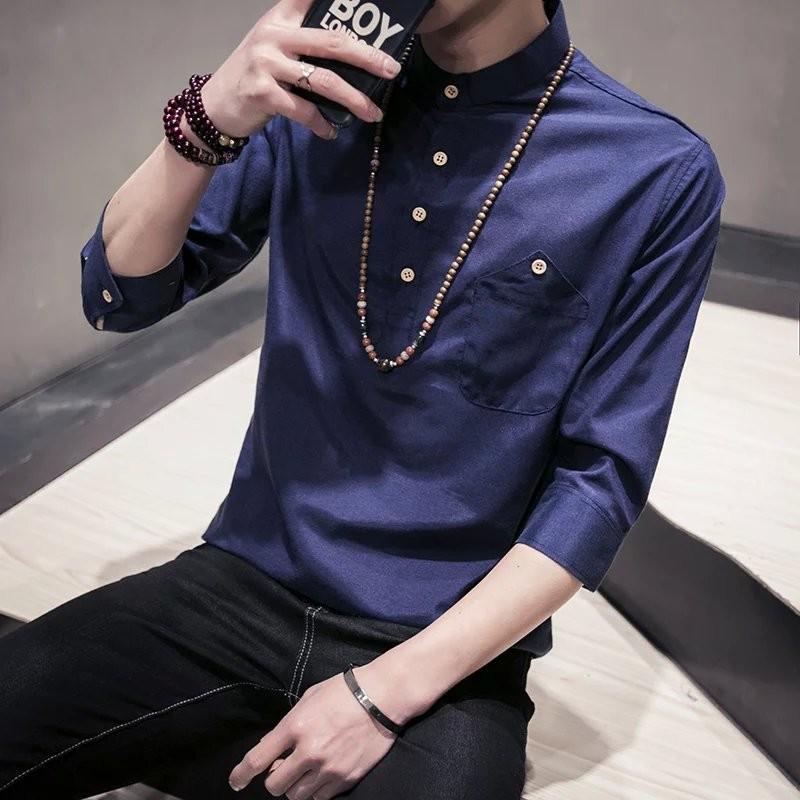 男裝立領套頭亞麻日系襯衣青少年潮流男士修身棉麻白短袖襯衫