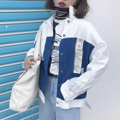 防曬外套女裝 原宿風bf 寬松貼布拼色工裝短款夾克學生 薄款外套