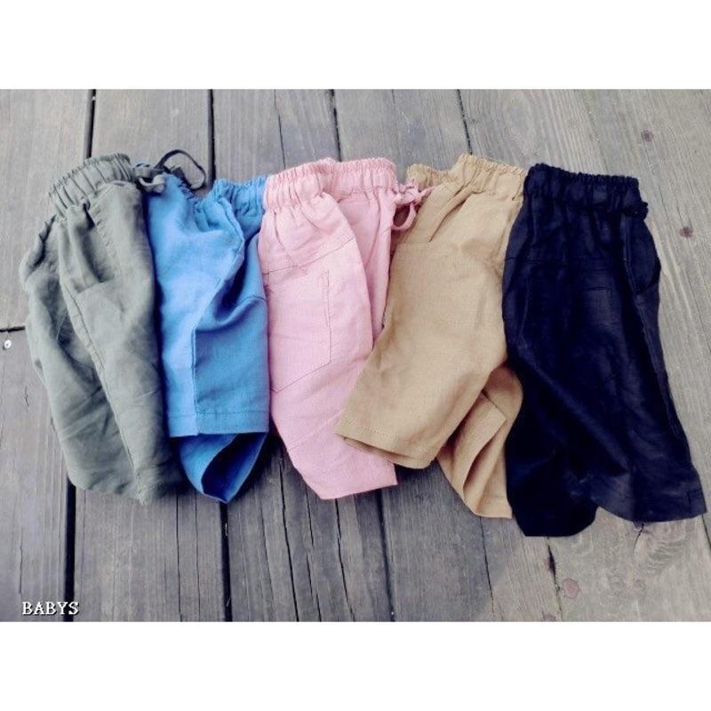 男女寶簡約素色綁帶休閒褲