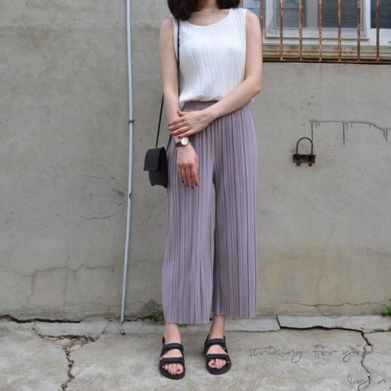 n_ 雪紡立體百摺寬褲芋紫 百褶壓褶壓摺