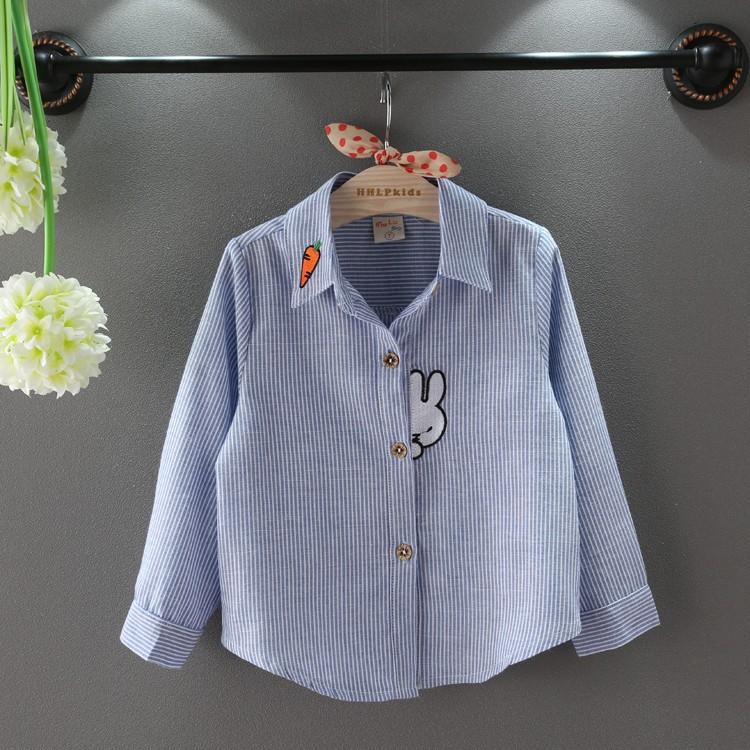 可愛兔子棉質翻領條紋襯衫男童女童 氣質兒童襯衫R021