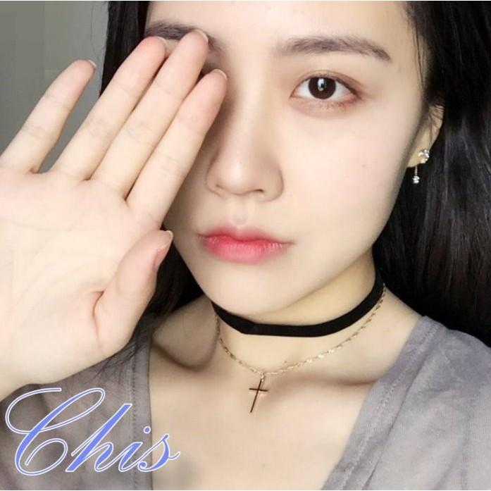 Chis Store ~十字架雙層頸鍊~韓國簡約風極簡風簡單精緻十字 頸圈鎖骨鍊短項鍊毛衣