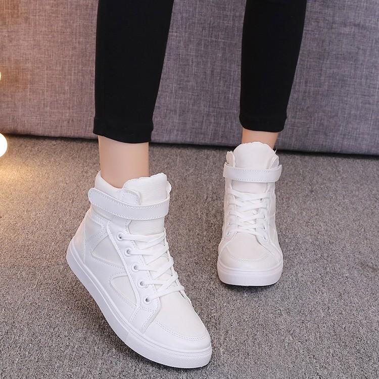 2016  高幫女 鞋圓頭系帶學生鞋 平底女單鞋白色板鞋高邦鞋  平底休閒