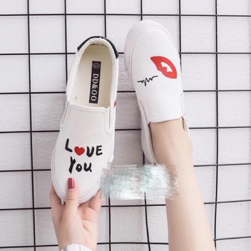 小白鞋女布鞋白色帆布鞋女厚底樂福鞋 學生休閒鞋一腳蹬懶人鞋